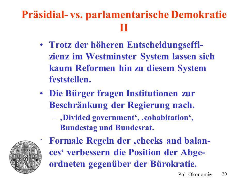 Präsidial- vs. parlamentarische Demokratie II