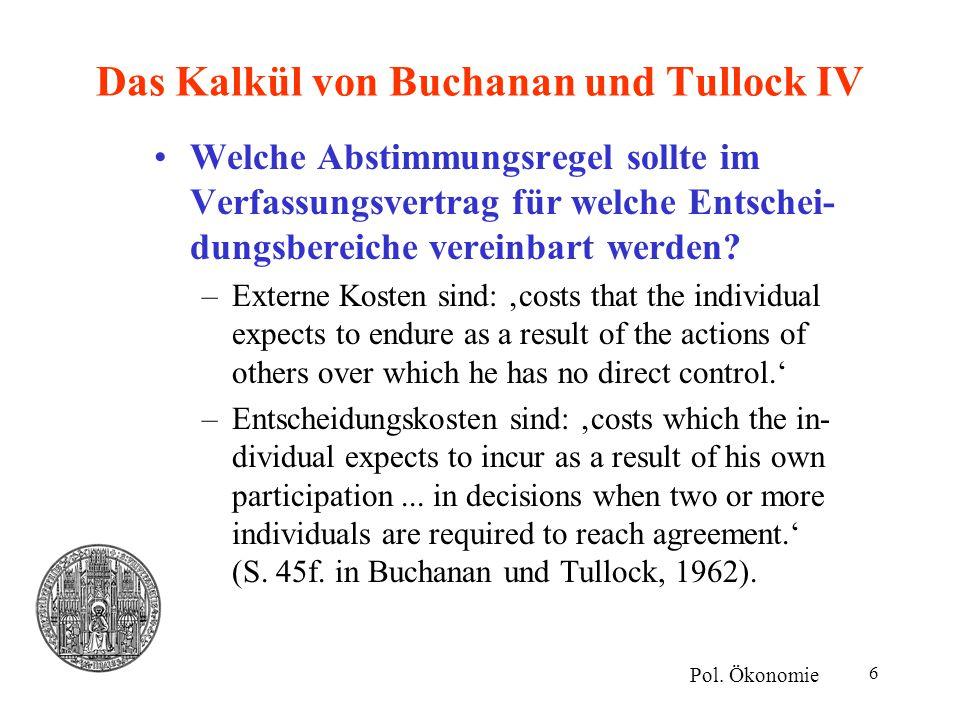 Das Kalkül von Buchanan und Tullock IV