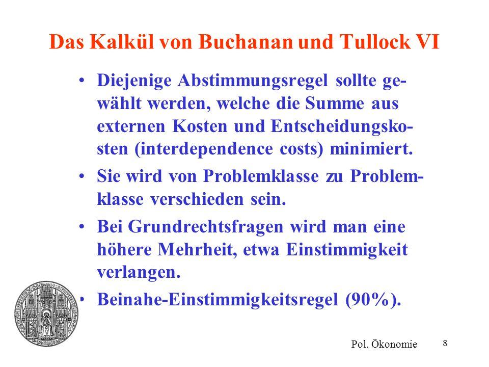 Das Kalkül von Buchanan und Tullock VI