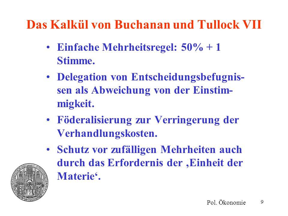 Das Kalkül von Buchanan und Tullock VII