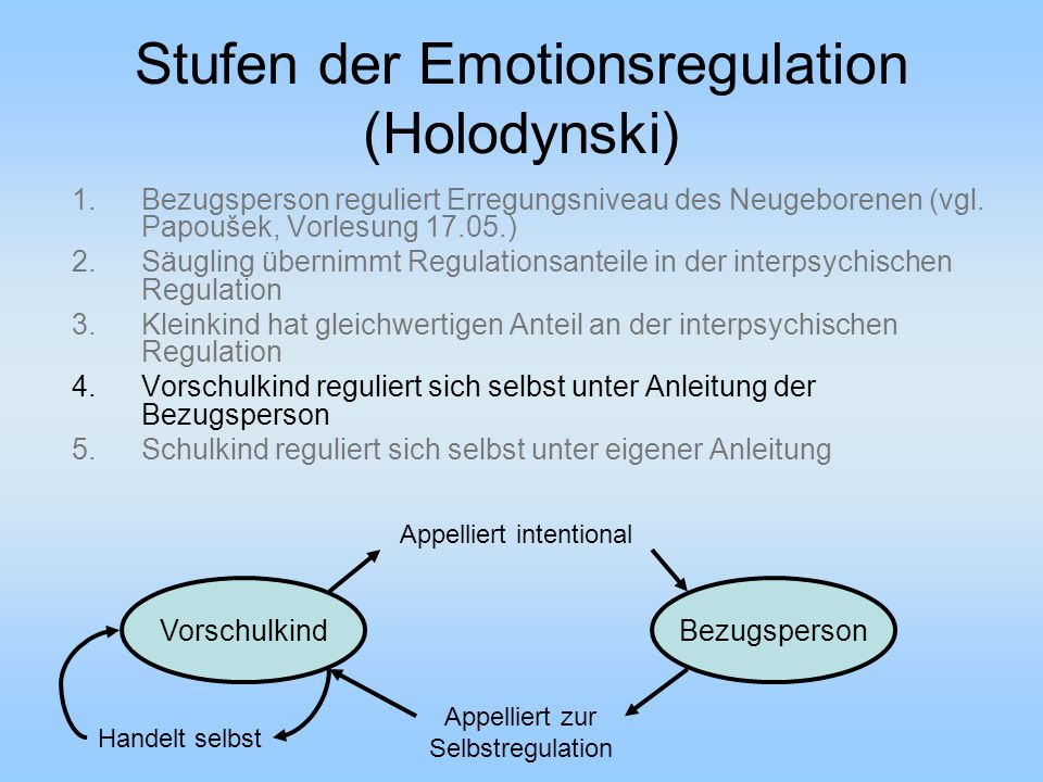 Stufen der Emotionsregulation (Holodynski)