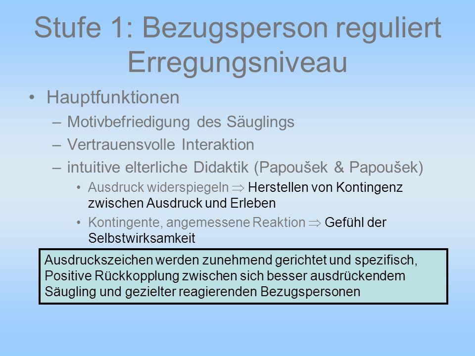 Stufe 1: Bezugsperson reguliert Erregungsniveau