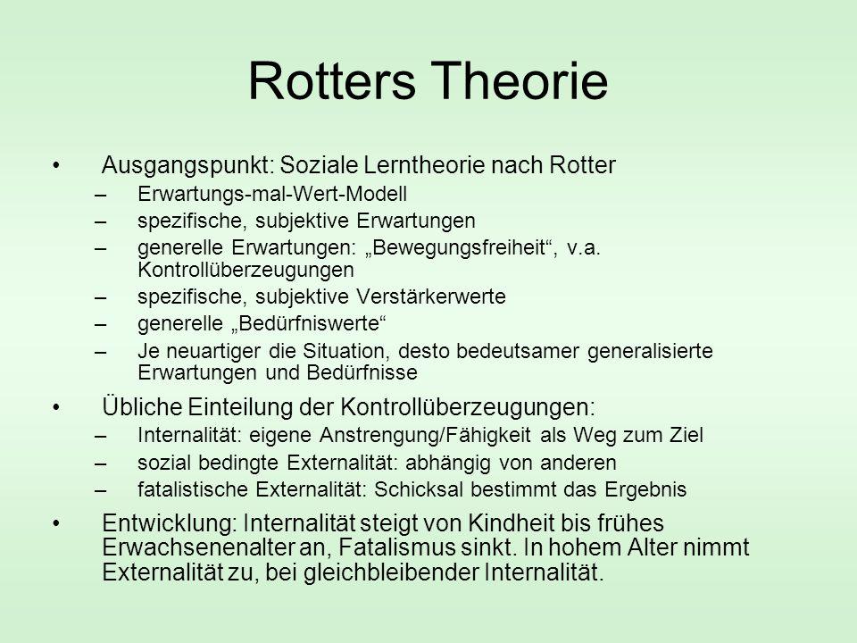 Rotters Theorie Ausgangspunkt: Soziale Lerntheorie nach Rotter