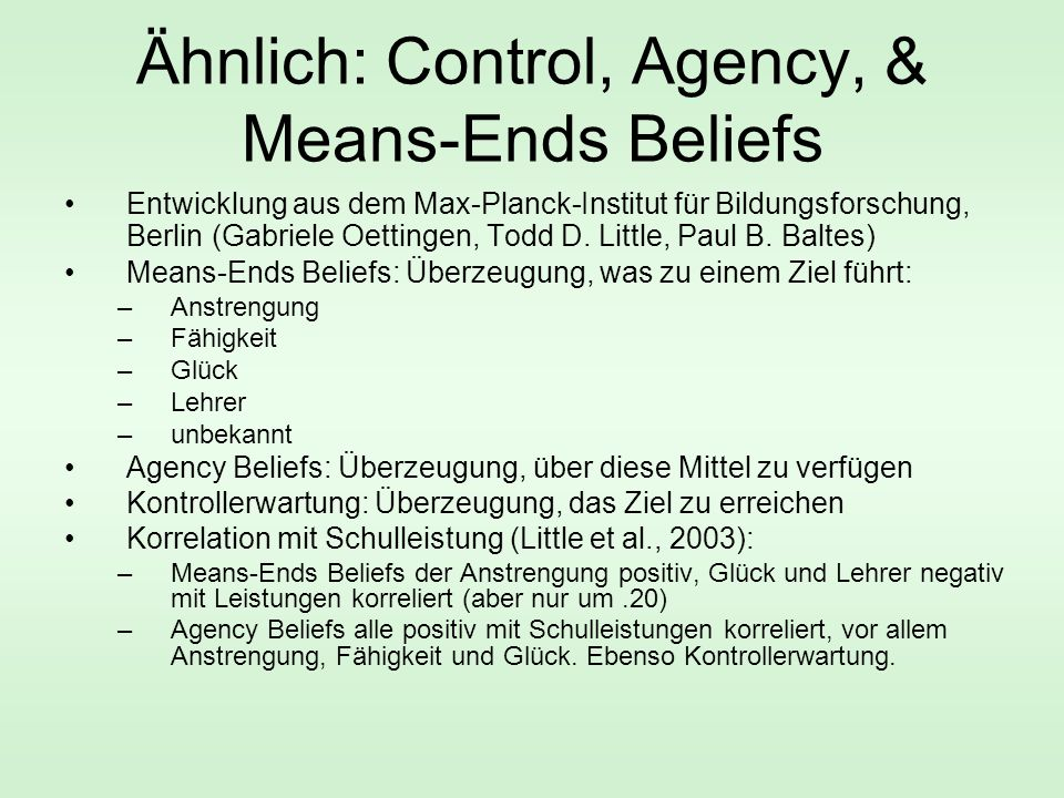Ähnlich: Control, Agency, & Means-Ends Beliefs