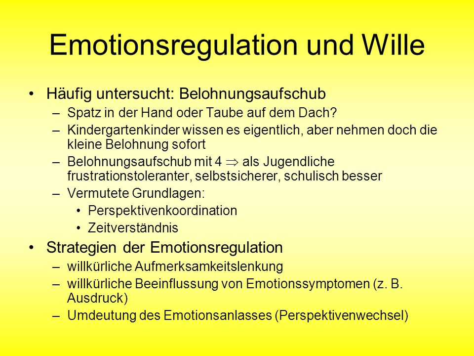 Emotionsregulation und Wille
