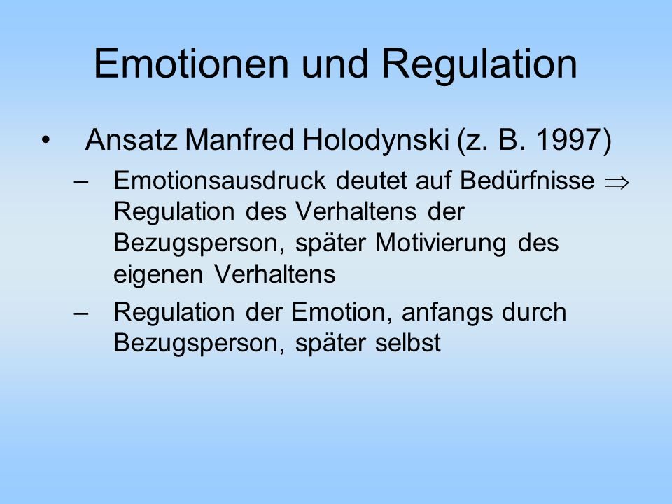Emotionen und Regulation