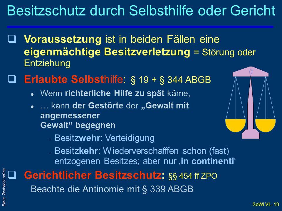 Besitzschutz durch Selbsthilfe oder Gericht