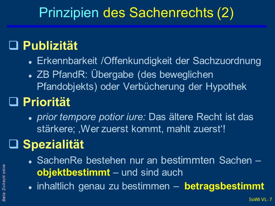 Prinzipien des Sachenrechts (2)
