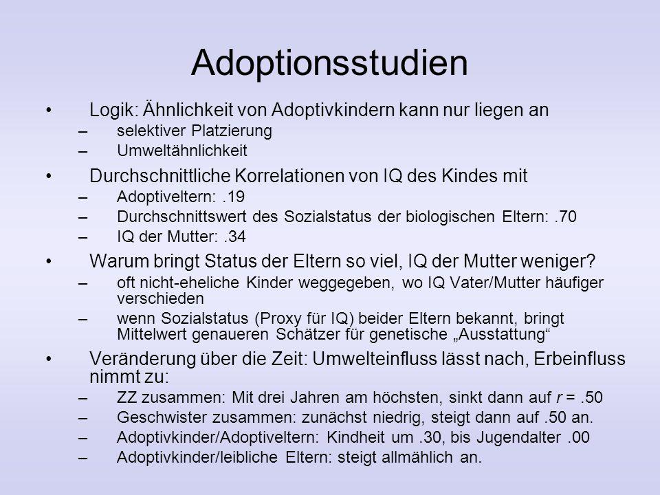 Adoptionsstudien Logik: Ähnlichkeit von Adoptivkindern kann nur liegen an. selektiver Platzierung.