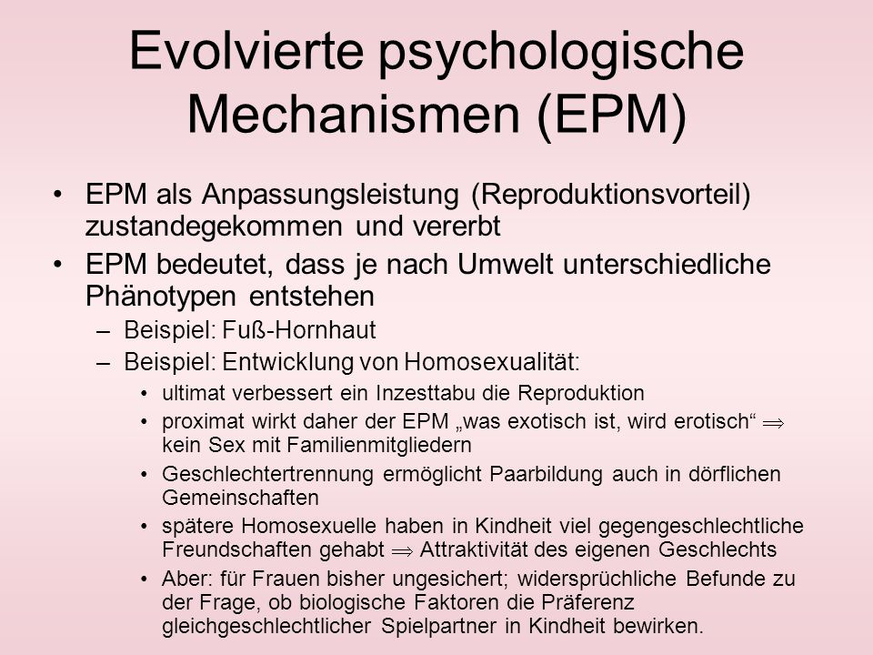 Evolvierte psychologische Mechanismen (EPM)