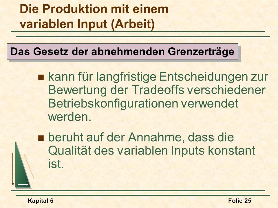 Die Produktion mit einem variablen Input (Arbeit)