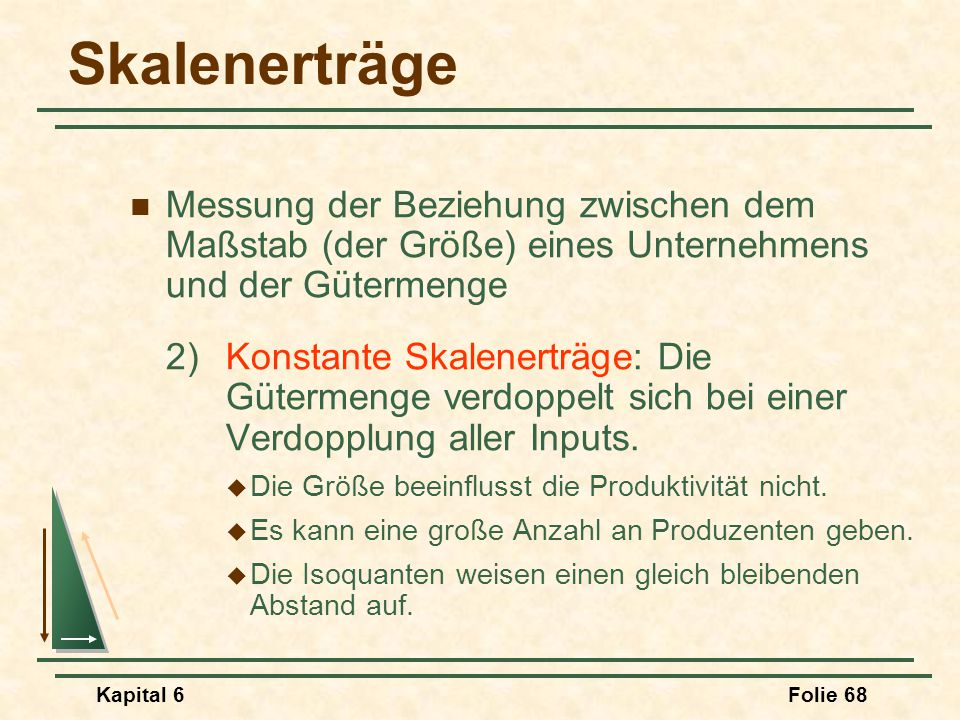 Skalenerträge Messung der Beziehung zwischen dem Maßstab (der Größe) eines Unternehmens und der Gütermenge.