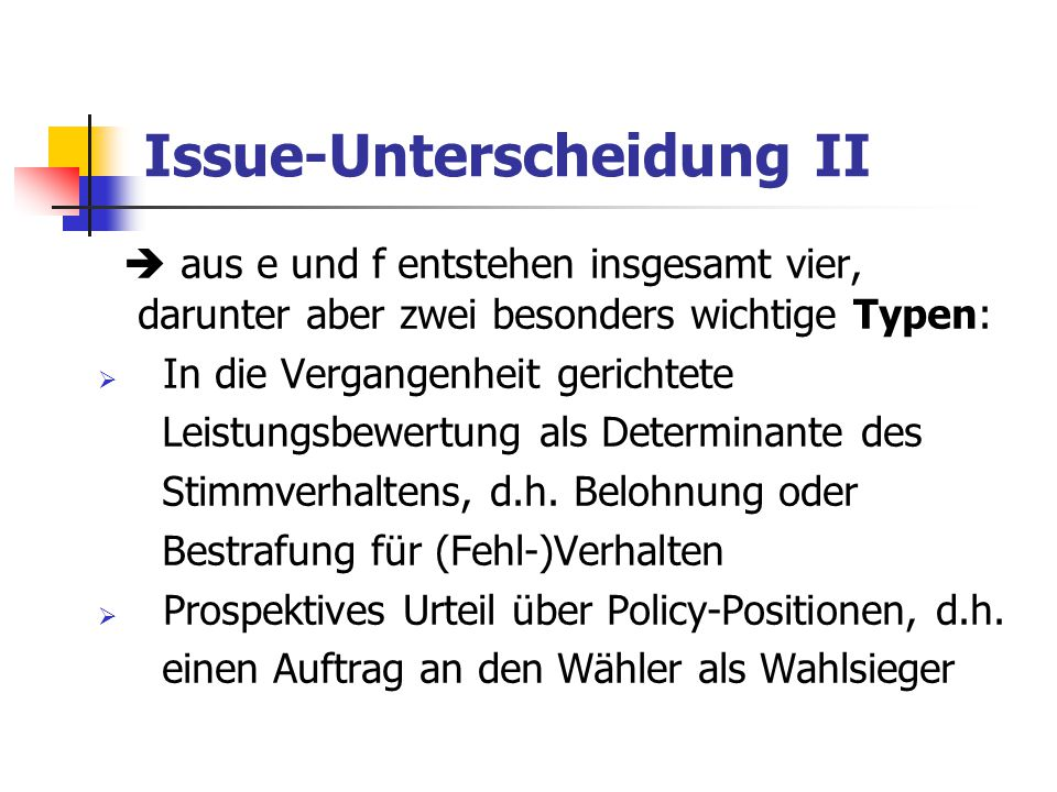 Issue-Unterscheidung II