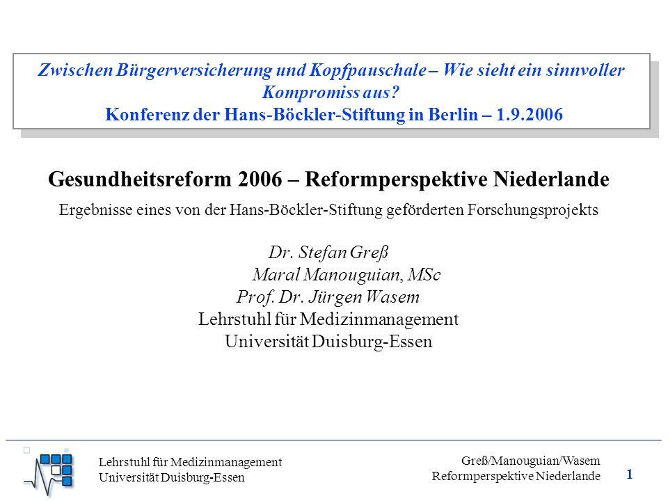 Gesundheitsreform 2006 – Reformperspektive Niederlande