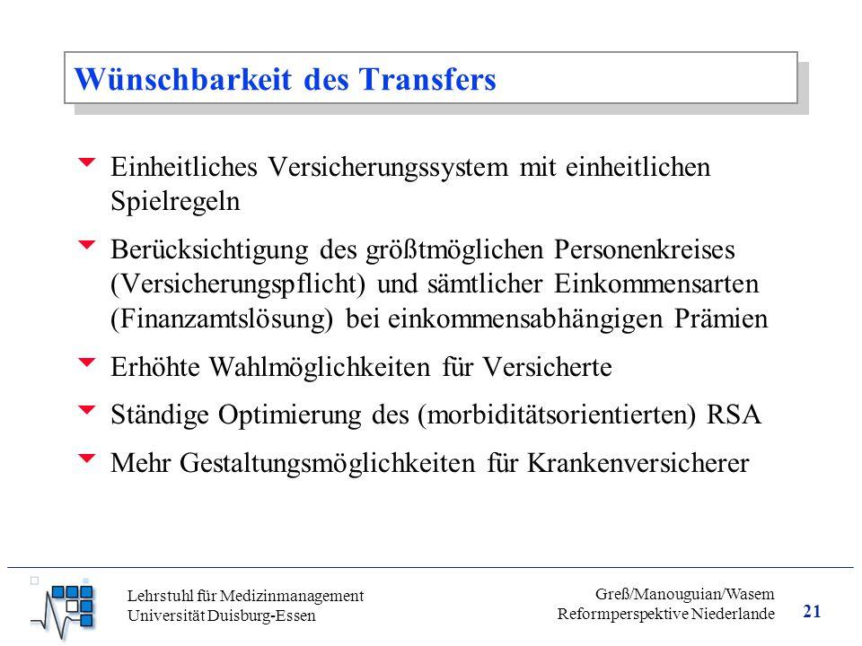 Wünschbarkeit des Transfers