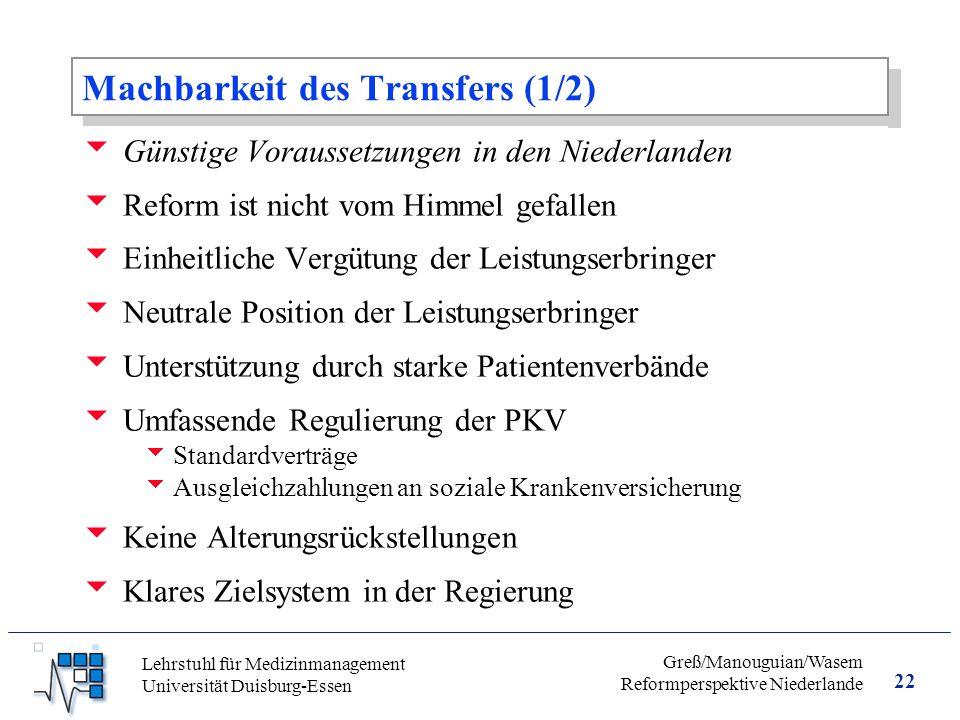 Machbarkeit des Transfers (1/2)