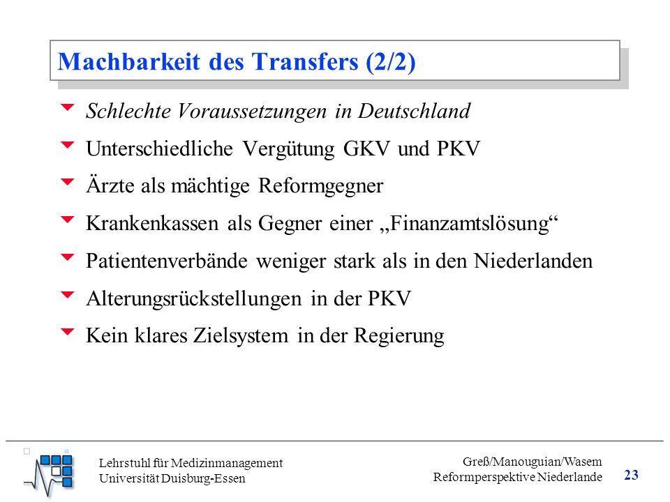 Machbarkeit des Transfers (2/2)
