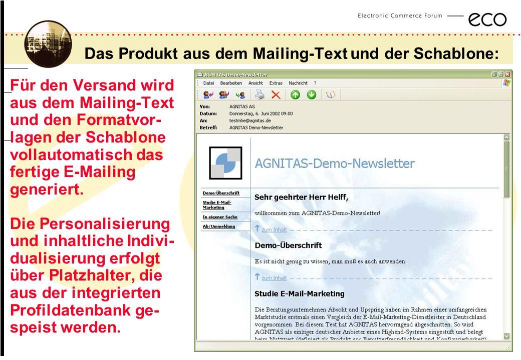 Das Produkt aus dem Mailing-Text und der Schablone: