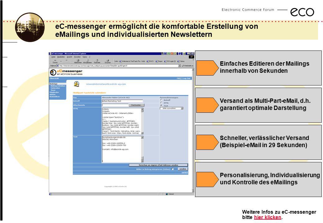 eC-messenger ermöglicht die komfortable Erstellung von eMailings und individualisierten Newslettern