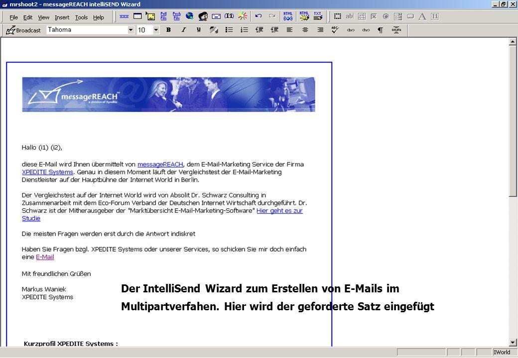 Der IntelliSend Wizard zum Erstellen von E-Mails im