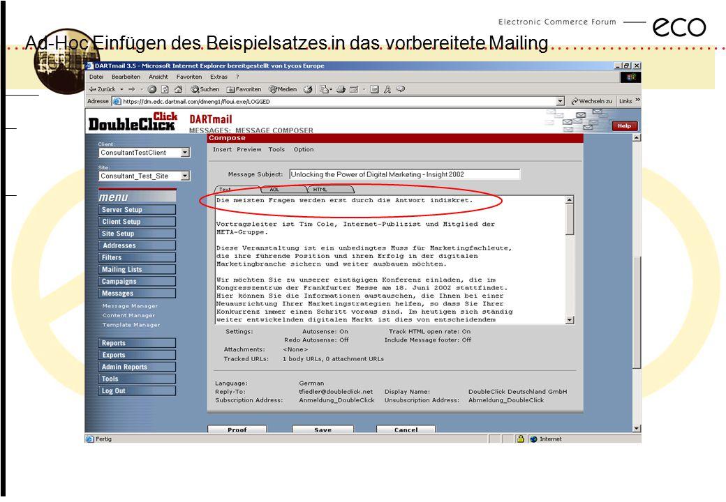 Ad-Hoc Einfügen des Beispielsatzes in das vorbereitete Mailing