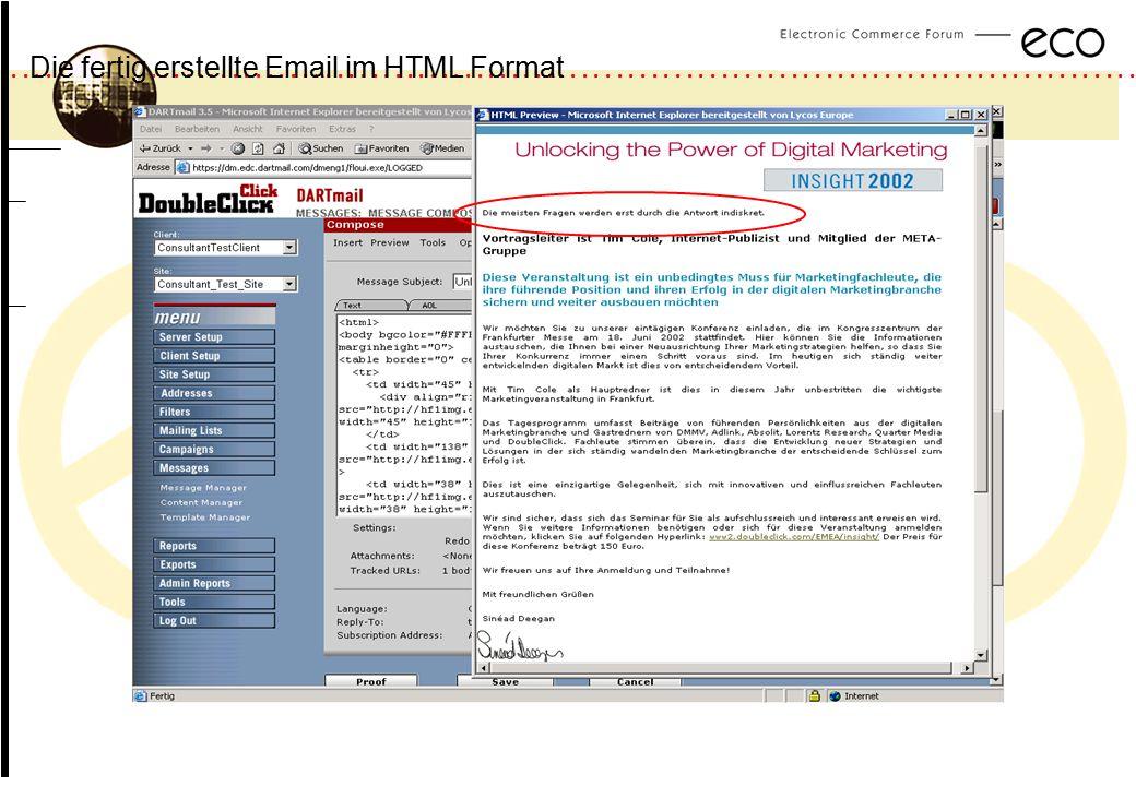 Die fertig erstellte Email im HTML Format