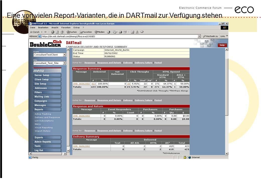 Eine von vielen Report-Varianten, die in DARTmail zur Verfügung stehen