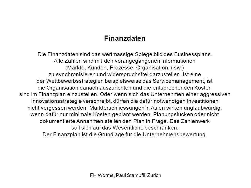 Finanzdaten Die Finanzdaten sind das wertmässige Spiegelbild des Businessplans. Alle Zahlen sind mit den vorangegangenen Informationen.