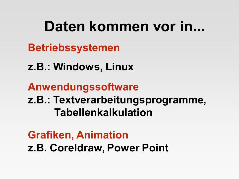 Daten kommen vor in... Betriebssystemen z.B.: Windows, Linux