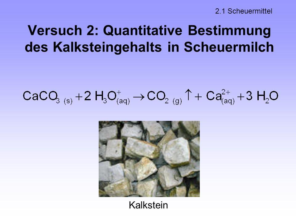 2.1 Scheuermittel Versuch 2: Quantitative Bestimmung des Kalksteingehalts in Scheuermilch Kalkstein