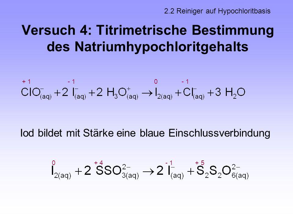 Versuch 4: Titrimetrische Bestimmung des Natriumhypochloritgehalts