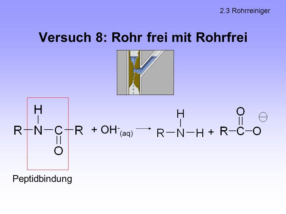 Versuch 8: Rohr frei mit Rohrfrei