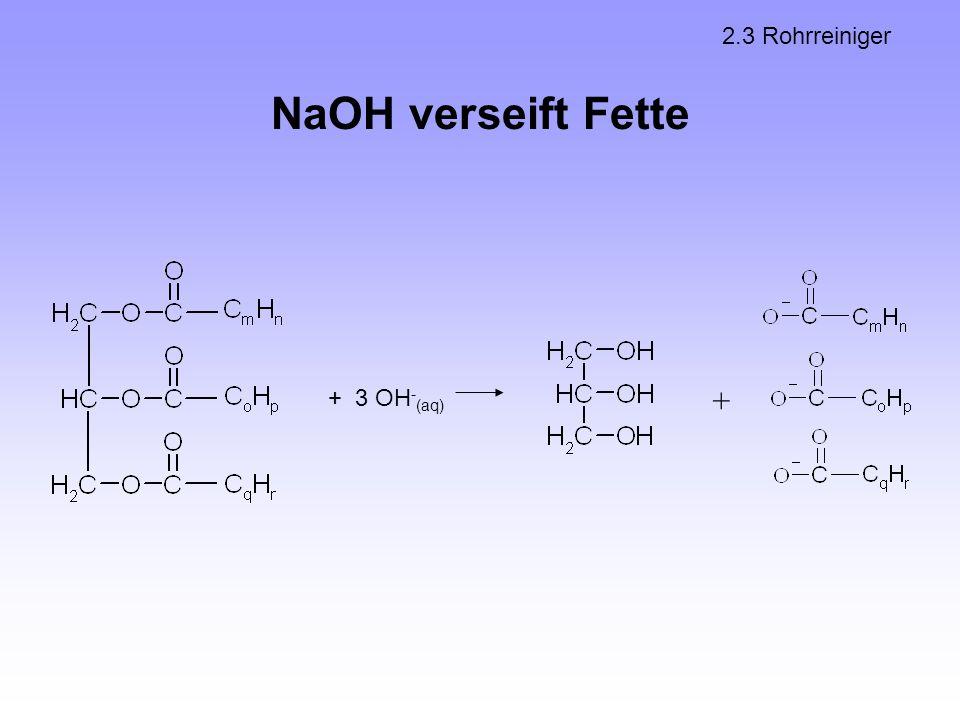 2.3 Rohrreiniger NaOH verseift Fette + 3 OH-(aq) +