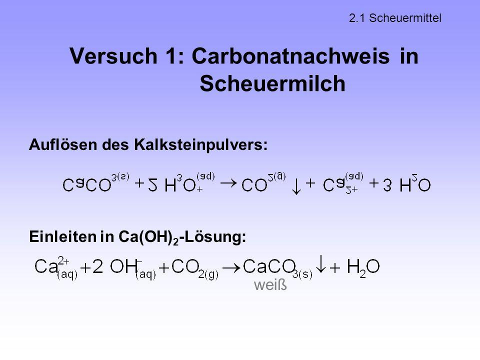 Versuch 1: Carbonatnachweis in Scheuermilch