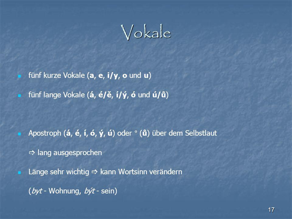Vokale fünf kurze Vokale (a, e, i/y, o und u)