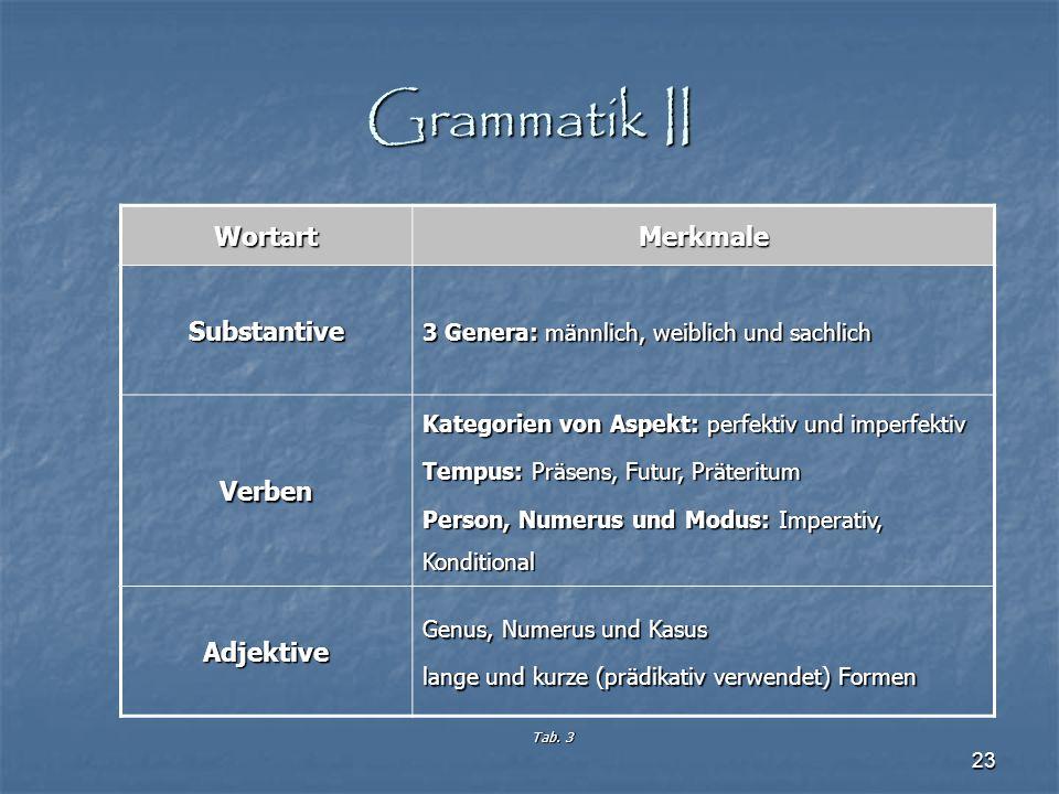 Grammatik II Wortart Merkmale Substantive Verben Adjektive