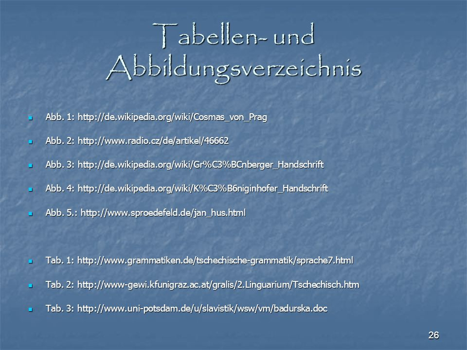 Tabellen- und Abbildungsverzeichnis