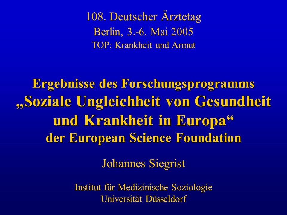 108. Deutscher Ärztetag Berlin, 3.-6. Mai 2005. TOP: Krankheit und Armut.