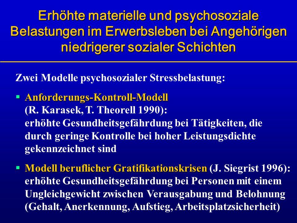 Erhöhte materielle und psychosoziale Belastungen im Erwerbsleben bei Angehörigen niedrigerer sozialer Schichten