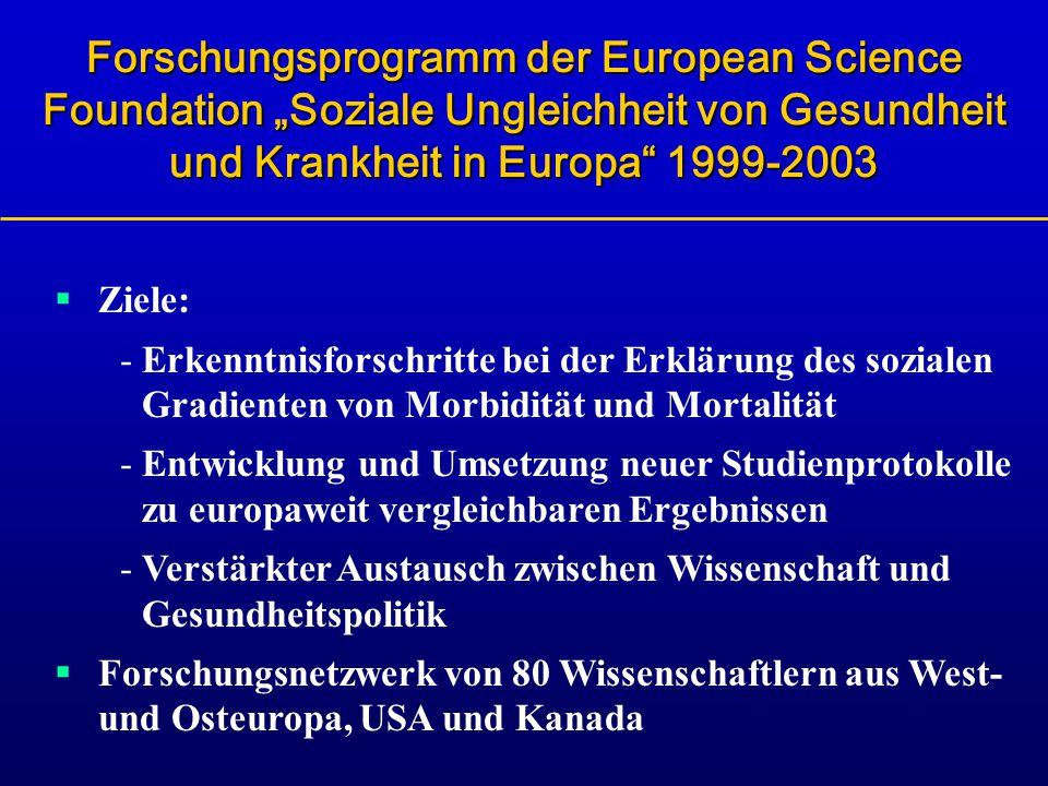 """Forschungsprogramm der European Science Foundation """"Soziale Ungleichheit von Gesundheit und Krankheit in Europa 1999-2003"""