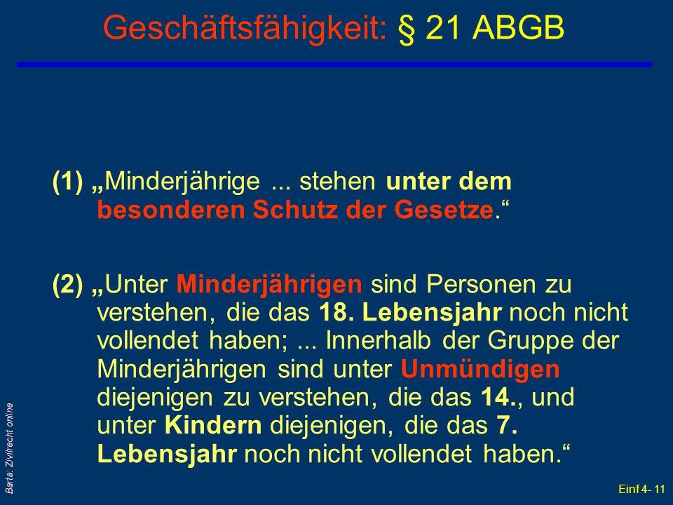 Geschäftsfähigkeit: § 21 ABGB