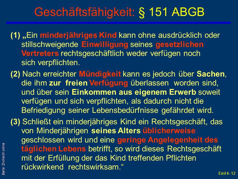 Geschäftsfähigkeit: § 151 ABGB