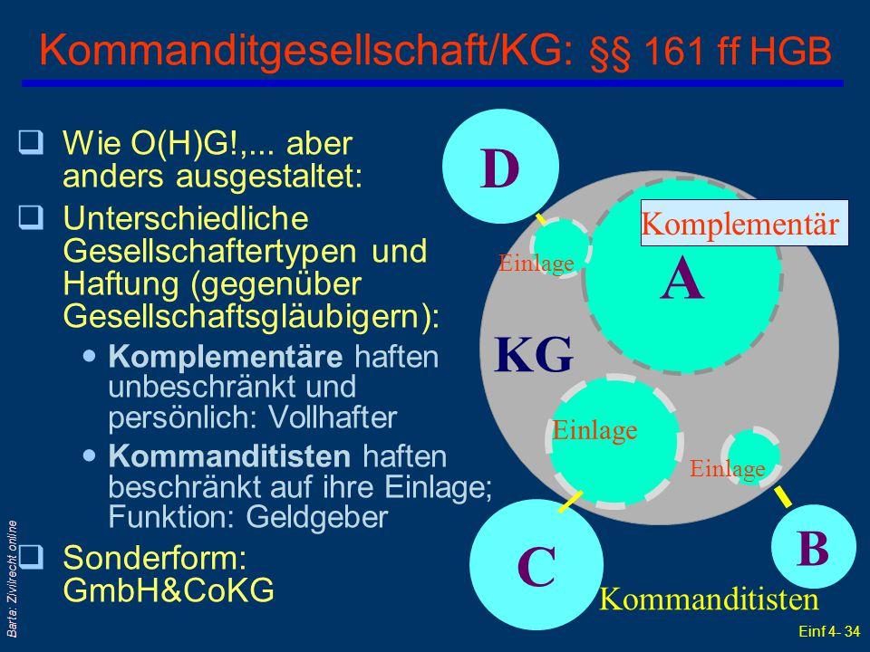 Kommanditgesellschaft/KG: §§ 161 ff HGB
