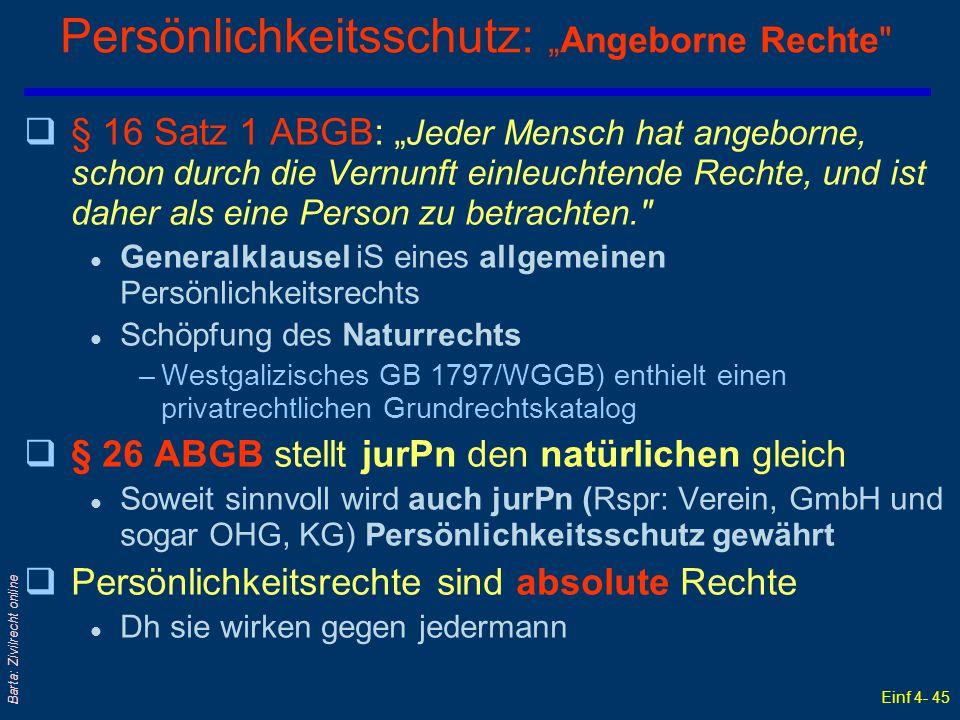 """Persönlichkeitsschutz: """"Angeborne Rechte"""