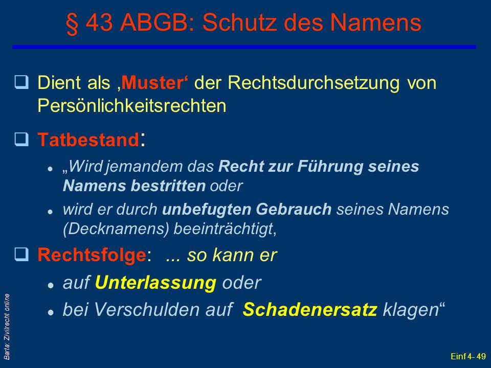 § 43 ABGB: Schutz des Namens