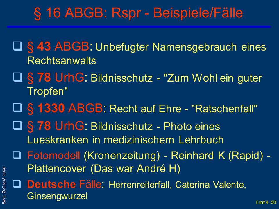§ 16 ABGB: Rspr - Beispiele/Fälle