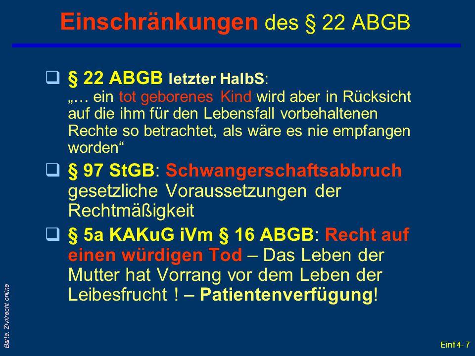 Einschränkungen des § 22 ABGB