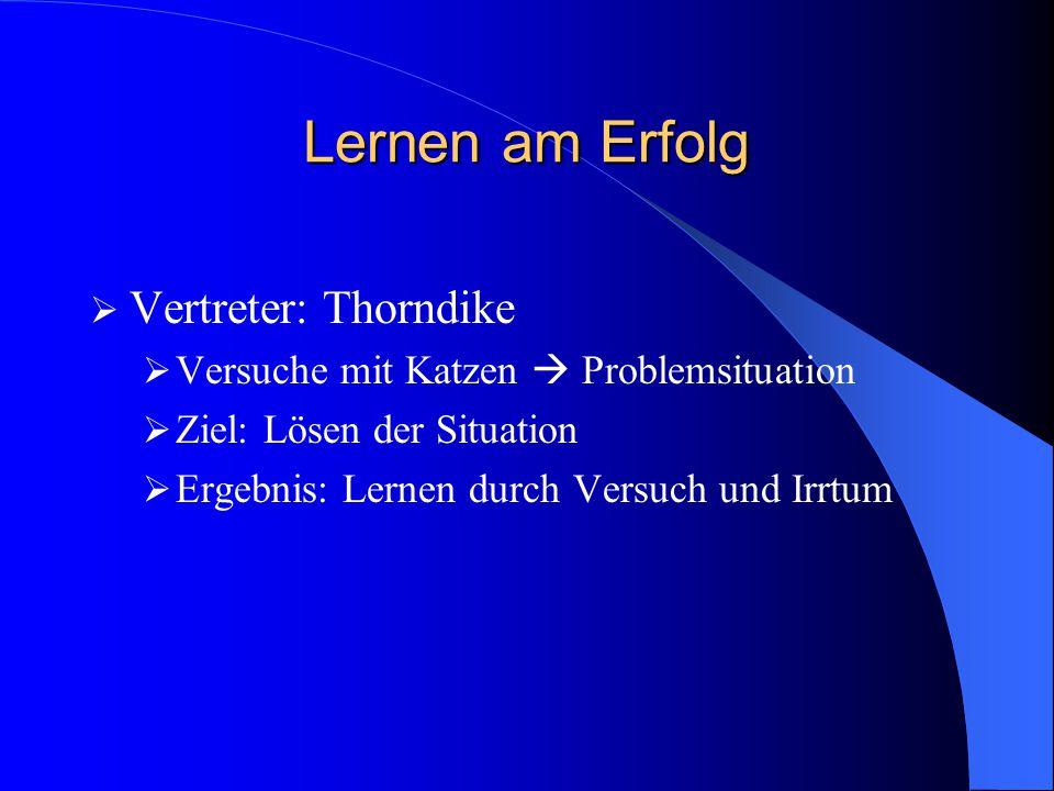 Lernen am Erfolg Vertreter: Thorndike