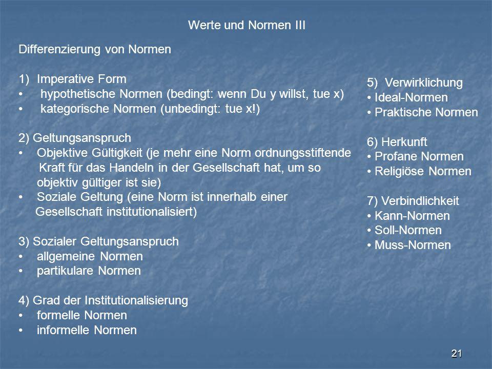 Werte und Normen III Differenzierung von Normen. Imperative Form. hypothetische Normen (bedingt: wenn Du y willst, tue x)