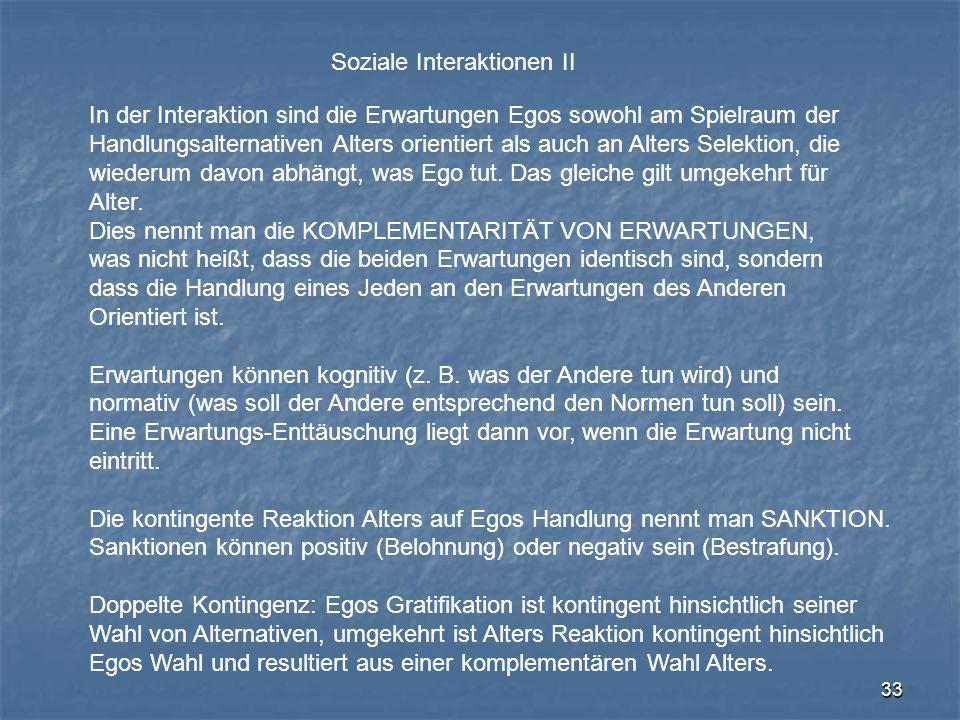 Soziale Interaktionen II